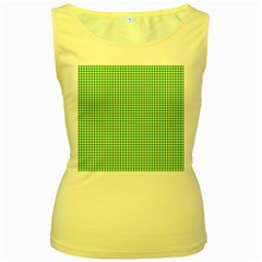 Green Tablecloth Plaid Line Women s Yellow Tank Top by Alisyart