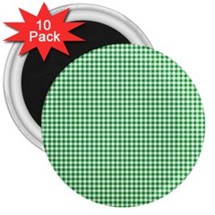 Green Tablecloth Plaid Line 3  Magnets (10 Pack)