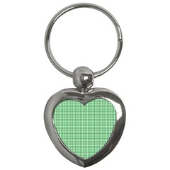 Green Tablecloth Plaid Line Key Chains (heart)  by Alisyart