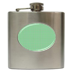 Green Tablecloth Plaid Line Hip Flask (6 Oz) by Alisyart