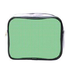 Green Tablecloth Plaid Line Mini Toiletries Bags by Alisyart