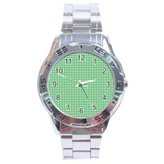 Green Tablecloth Plaid Line Stainless Steel Analogue Watch by Alisyart