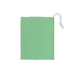 Green Tablecloth Plaid Line Drawstring Pouches (small)  by Alisyart