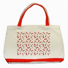 Hour Glass Pattern Red White Triangle Classic Tote Bag (red) by Alisyart