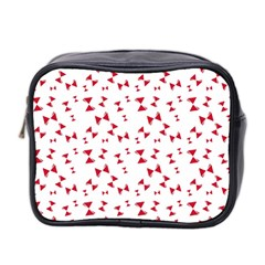 Hour Glass Pattern Red White Triangle Mini Toiletries Bag 2 Side
