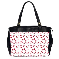 Hour Glass Pattern Red White Triangle Office Handbags (2 Sides)