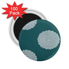 Green Circle Floral Flower Blue White 2 25  Magnets (100 Pack)  by Alisyart