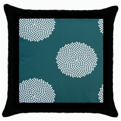 Green Circle Floral Flower Blue White Throw Pillow Case (black)