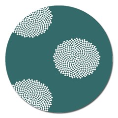 Green Circle Floral Flower Blue White Magnet 5  (round)