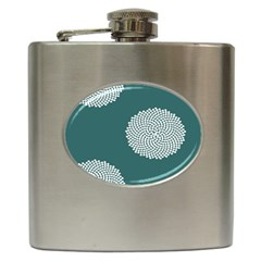 Green Circle Floral Flower Blue White Hip Flask (6 Oz) by Alisyart