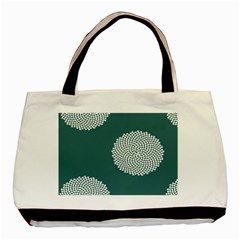Green Circle Floral Flower Blue White Basic Tote Bag by Alisyart