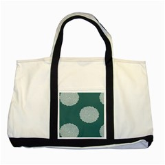 Green Circle Floral Flower Blue White Two Tone Tote Bag by Alisyart