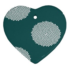 Green Circle Floral Flower Blue White Heart Ornament (two Sides) by Alisyart