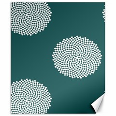 Green Circle Floral Flower Blue White Canvas 8  X 10  by Alisyart