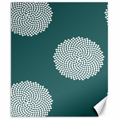 Green Circle Floral Flower Blue White Canvas 20  X 24