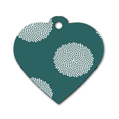 Green Circle Floral Flower Blue White Dog Tag Heart (one Side) by Alisyart