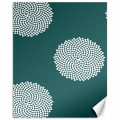 Green Circle Floral Flower Blue White Canvas 11  X 14   by Alisyart