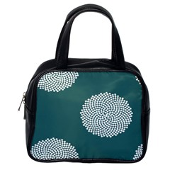Green Circle Floral Flower Blue White Classic Handbags (one Side) by Alisyart