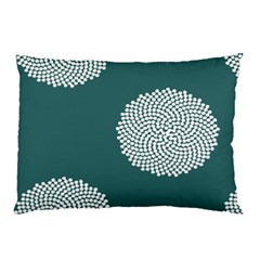 Green Circle Floral Flower Blue White Pillow Case by Alisyart
