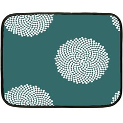 Green Circle Floral Flower Blue White Double Sided Fleece Blanket (mini)  by Alisyart