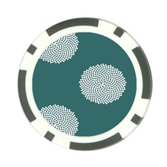 Green Circle Floral Flower Blue White Poker Chip Card Guard (10 Pack) by Alisyart