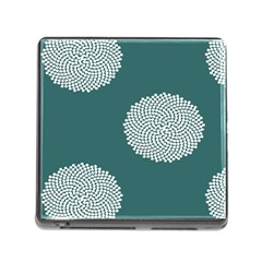 Green Circle Floral Flower Blue White Memory Card Reader (square) by Alisyart