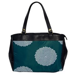 Green Circle Floral Flower Blue White Office Handbags by Alisyart