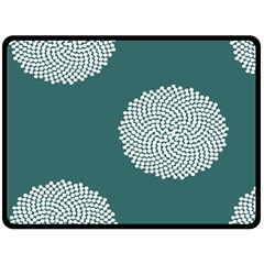 Green Circle Floral Flower Blue White Fleece Blanket (large)  by Alisyart