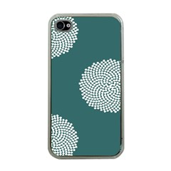 Green Circle Floral Flower Blue White Apple Iphone 4 Case (clear)