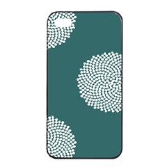 Green Circle Floral Flower Blue White Apple Iphone 4/4s Seamless Case (black) by Alisyart