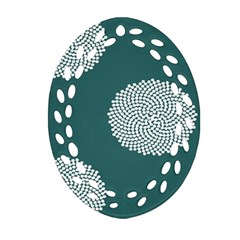 Green Circle Floral Flower Blue White Oval Filigree Ornament (two Sides) by Alisyart