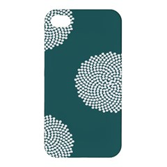 Green Circle Floral Flower Blue White Apple Iphone 4/4s Premium Hardshell Case by Alisyart