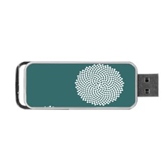 Green Circle Floral Flower Blue White Portable Usb Flash (two Sides)