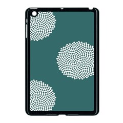 Green Circle Floral Flower Blue White Apple Ipad Mini Case (black) by Alisyart