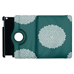 Green Circle Floral Flower Blue White Apple Ipad 3/4 Flip 360 Case