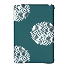 Green Circle Floral Flower Blue White Apple Ipad Mini Hardshell Case (compatible With Smart Cover)