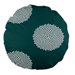 Green Circle Floral Flower Blue White Large 18  Premium Round Cushions