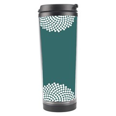 Green Circle Floral Flower Blue White Travel Tumbler by Alisyart