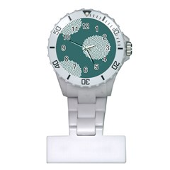 Green Circle Floral Flower Blue White Plastic Nurses Watch by Alisyart