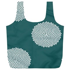 Green Circle Floral Flower Blue White Full Print Recycle Bags (l)