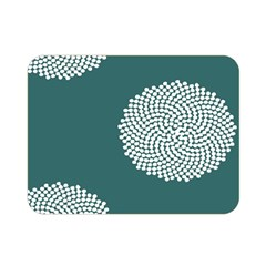 Green Circle Floral Flower Blue White Double Sided Flano Blanket (mini)  by Alisyart