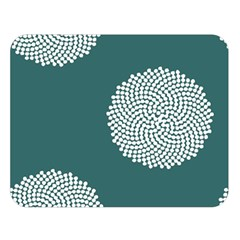 Green Circle Floral Flower Blue White Double Sided Flano Blanket (large)  by Alisyart