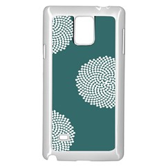 Green Circle Floral Flower Blue White Samsung Galaxy Note 4 Case (white) by Alisyart