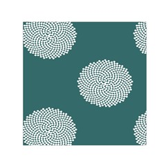Green Circle Floral Flower Blue White Small Satin Scarf (square)