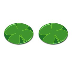 Leaf Clover Green Cufflinks (oval) by Alisyart