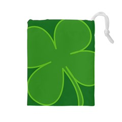 Leaf Clover Green Drawstring Pouches (large)  by Alisyart