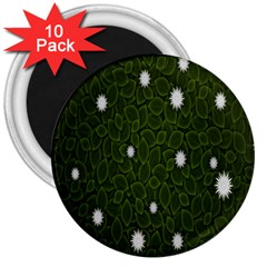 Graphics Green Leaves Star White Floral Sunflower 3  Magnets (10 Pack)