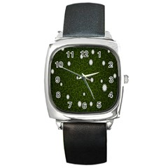 Graphics Green Leaves Star White Floral Sunflower Square Metal Watch by Alisyart