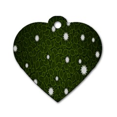 Graphics Green Leaves Star White Floral Sunflower Dog Tag Heart (one Side)