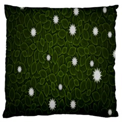 Graphics Green Leaves Star White Floral Sunflower Large Cushion Case (two Sides)